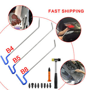 3x Auto Body Dent Removal Pdr Rod Tools Paintless Repair Tap Hammer 9 Heads