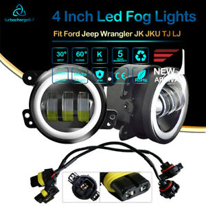 Pair 4 Round Black Angel Eye Led Fog Lamp Fit Jeep Wrangler Mazda Miata Truck