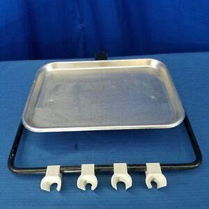 Dental Stainless Steel Utility Accessory Tray With 4 Instrument Holder Bar
