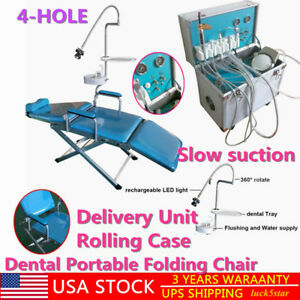 Dental Portable Folding Chair delivery Unit Rolling Case slow Suction 4 hole Ups