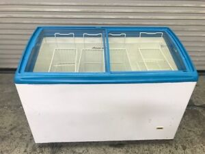 49 Glass Slide Top Reach In Ice Cream Chest Display Freezer 8710 Commercial