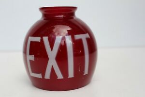 Exit Sign Globe Shade Ruby Red Glass Gasolier Exit Globe Gasolier Exit Sign