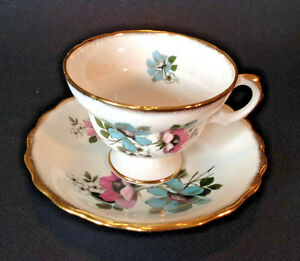 Rosina Pedestal Tea Cup And Saucer Pink And Blue Poppies And Gilding England