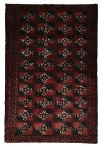 Semi Antique Red And Brown Persian Fine Bukhara Oriental Area Rug 3 X 5