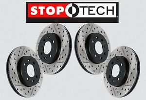 front Rear Set Stoptech Drilled Slotted Brake Rotors w brembo Sts26870