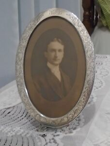 Antique Sterling Silver Oval Photo Frame Floral Embossed With Monogram 10 By 7