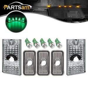5 Clear Top Clearance Roof Cab Markers W Green 5050 168 Led For Hummer H2 03 09