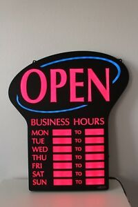 Open Sign With Business Hours 20 Led