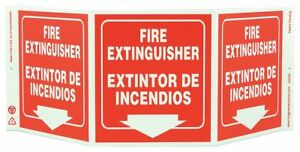 Zing Fire Extinguisher Sign 7 1 2 X 20in 3053g