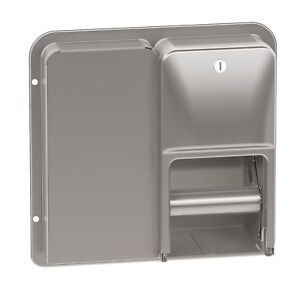 Bradley 5a20 Toilet Tissue Dispenser Partition Mounted Dual Roll