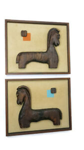 Mid Century Witco Tiki Viking Pair Of Horses Wood Carved Wall Hanging Artwork
