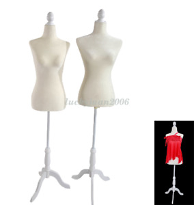 Mefeir Professional Women Mannequin Torso With Tripod Wooden Stand Base Dress