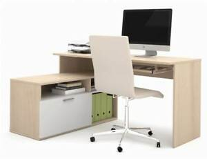 L shape Desk In Northern Maple And White Finish id 3183403