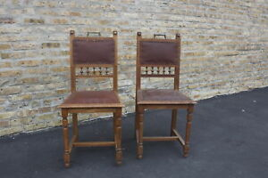 Antique Pair Of Carved Oak French Chairs Ca 1895