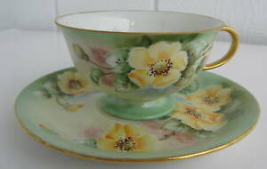 Eschenbach Hand Painted Cup Saucer Germany Yellow Flowers Signed