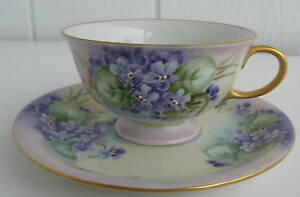 Eschenbach Hand Painted Porelain Cup Saucer Germany Violets Flowers Signed