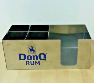 Don Q Rum Bar Candy Container Napkin Holder Stainless Steel Swizzle Sticks