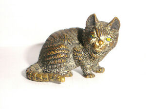 Antique Austria Vienna Bronze Cold Painted Miniature Cat Figure