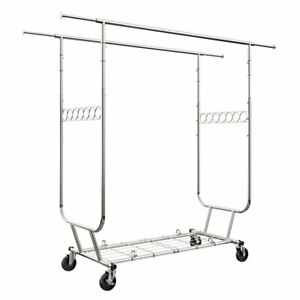 Langria Heavy Duty Rolling Commercial Double Rail Clothing Garment Rack With