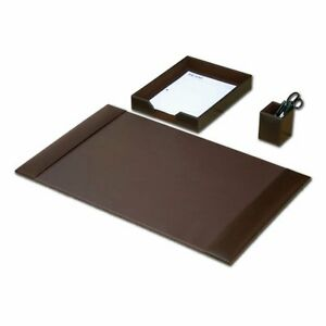 Desk Accessory Set 3 piece Genuine Brown Leather