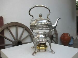 Antique Brass Silver Coated Burner Tea Pot Maker Kettle Rare Hinged Stand Holder