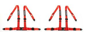 2 X Tanaka 4 Point New Type Buckle Sports Racing Harness Seat Belt Red
