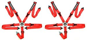 2 X Tanaka Ultra Series Sport Racing Style 5 Point Camlock Harness Red