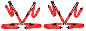 2 X Tanaka Ultra Series Sport Racing Style 4 Point Camlock Harness Red