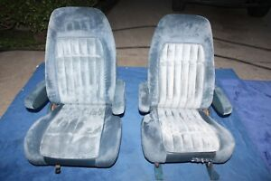 95 99 Chevy Silverado Suburban Gmc Sierra Truck Bucket Seats Blue Cloth Power