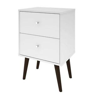 White Modern Mid Century Style 2 Drawer Side Table Nightstand