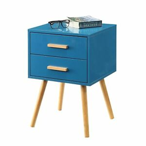 Modern Classic Mid Century Style End Table Nightstand In Blue Finish
