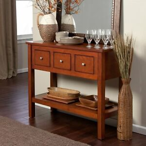 Contemporary 3 Drawer Sideboard Console Sofa Table In Mahogany