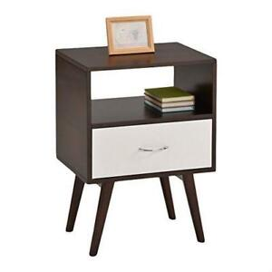 Espresso And White Modern Mid Century Style End Table Nightstand