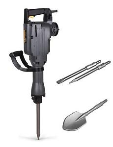 Tr Industrial Electric Demolition Jackhammer With Point Flat And Spade Shovel