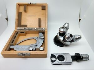Zeiss Microscope Parts X y Stage Turret W 4 Objectives Rotating Polarizer