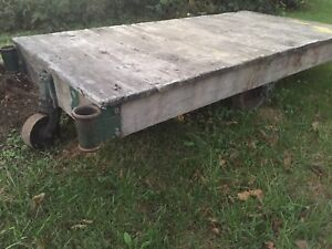 Vintage Industrial Nutting Factory Rail Yard Rocker Cart Coffee Table
