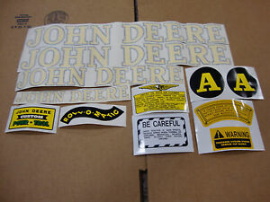 A John Deere A 1940 1952 Tractor Hood And Safety Decal Set