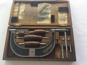 Antique Micrometer Brown Sharpe No 55 W Wooden Box Accessories