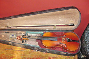 Old Violin Smaller 13 Body 3 4 Size Czechoslovakia Early 20th C Bow And Case