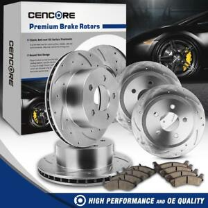 Full Set 4 Drilled Slotted Brake Rotors 8 Ceramic Pads For Jeep Grand Cherokee