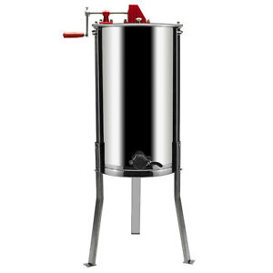 Honey Extractor 2 Frames Stainless Steel Manual Beekeeping Equipment W Holder