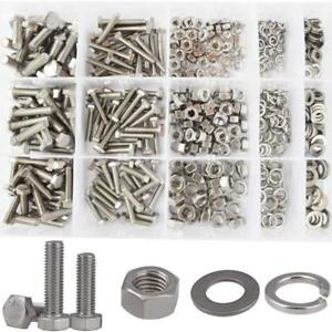 Hex Flat Head Bolts M4 M5 M6 Metric Screws Nuts Flat And Lock Washers Sae Assort