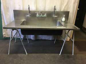 Large Stainless Steel Triple Faucet School Science Lab Sink Industrial Cabinet E