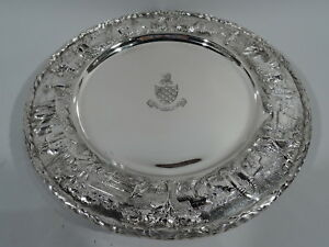 Kirk Plates 38l Antique Landscape Dinner Chargers American Sterling Silver