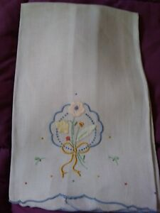 Pretty Bow Design Light Gray Hankerchief Linen Embroidered Hand Towel 20 By 14