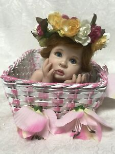 "EUC ""PORCELAIN DOLL IN A BASKET"" 2001 LE 2231000 By Laura Lee Wambach"