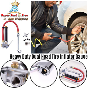 New Dual Head Chuck Commercial Grade Dual Head Tire Inflator Gauge With Air Hose