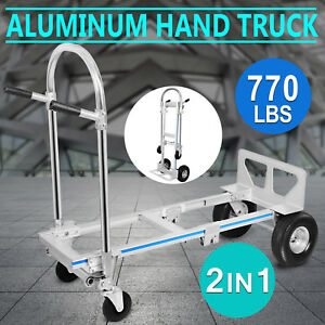 2in1 Aluminum Hand Truck Dolly Utility Cart Collapsible 770lbs Folding Great