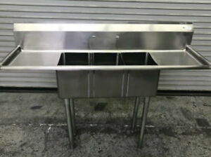 60 3 Compartment Sink 10 X 14 Bowl John Boos E3s8 1014 10t15 8742 Commercial