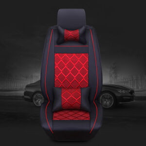 5 Seats Cooling Mesh pu Leather Seat Covers Universal Car Front rear Pillows Set